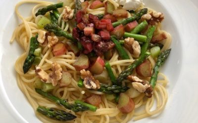 Rhubarb and Asparagus Pasta with Walnuts