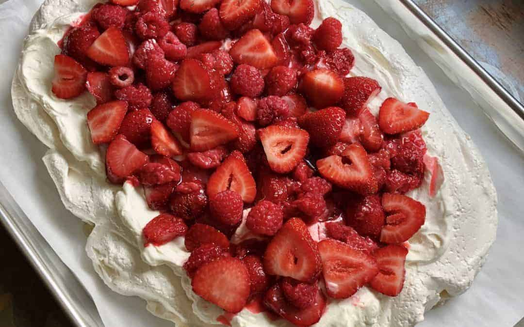 Roasted Berry Pavlova