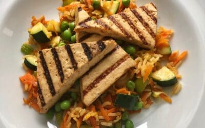 Grilled Tofu Triangles with Fried Rice
