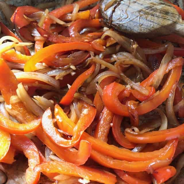 Cooking onions and peppers