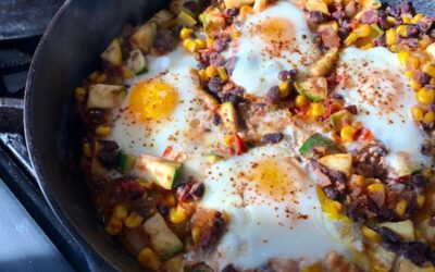Mexican Skillet Black Bean Hash with Eggs