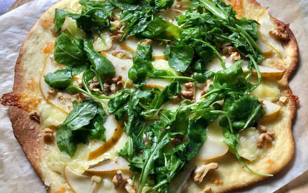 Cracker Crust Pizza with Pear, Brie, and Arugula
