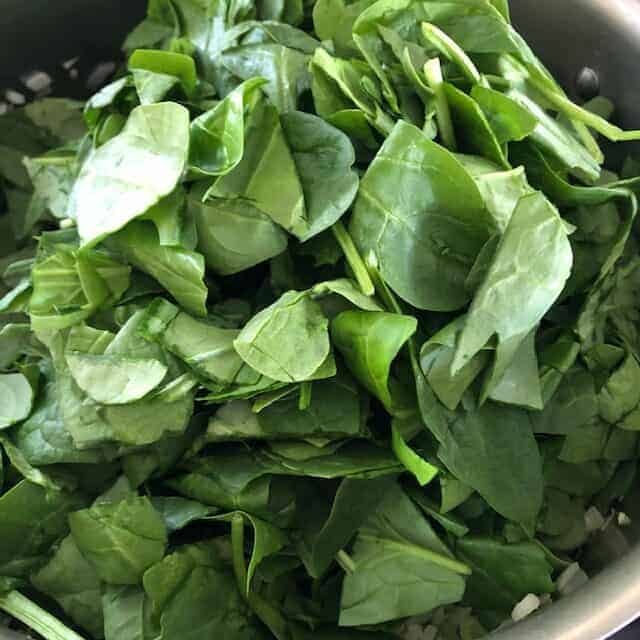 spinach and herbs