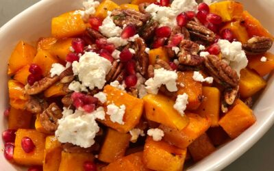 Maple Roasted Butternut Squash with Spiced Pecans, Feta, and Pomegranate