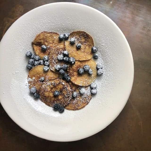 Banana Almond Flour Pancakes with Blueberries