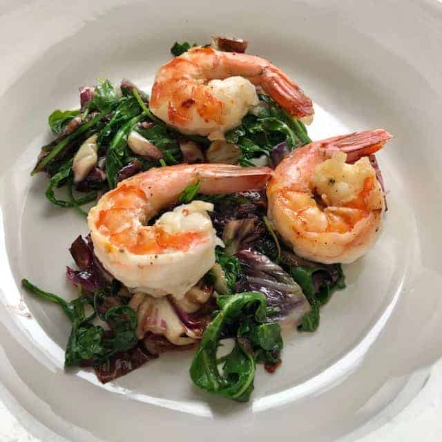 Chipotle Shrimp with Minty Bitter Greens