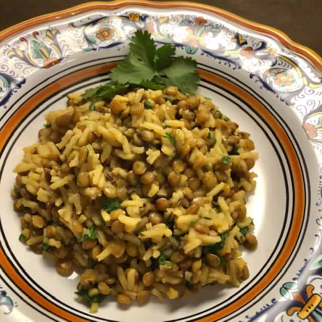 Indian Lentil Rice Pilaf with Cilantro