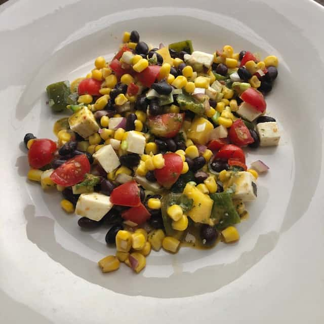 Roasted Poblano Salad with Black Beans