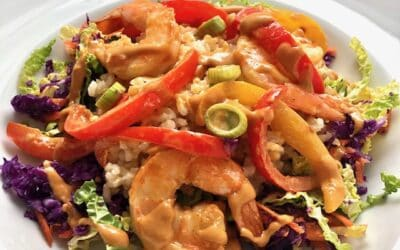 Thai Shrimp Rice Bowl with Peanut Sauce